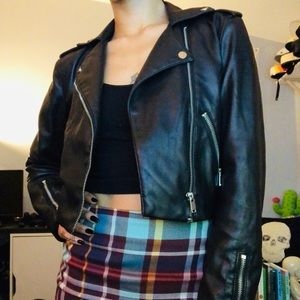 {H&M} faux leather jacket